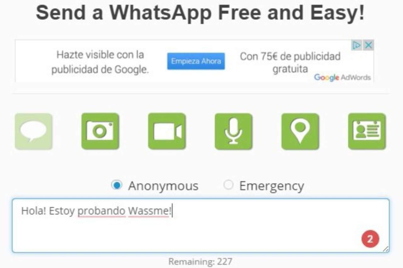 WhatsApp anonimo