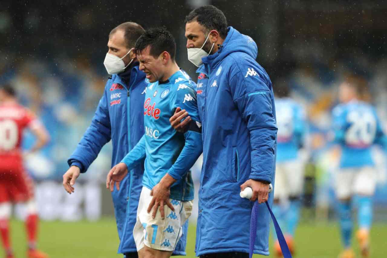 Napoli infortunio Lozano